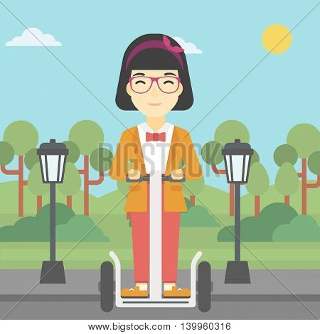 An asian young woman driving electric scooter. Woman on self-balancing electric scooter with two wheels. Woman on electric scooter in the park. Vector flat design illustration. Square layout.