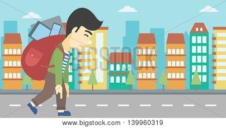 An asian young man walking with backpack full of different devices. Man walking with many devices in the city. Man with many electronic devices. Vector flat design illustration. Horizontal layout