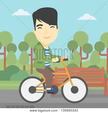 An asian young man riding a bicycle in the park. Cyclist riding bike on forest road. Man on a bike outdoors. Healthy lifestyle concept. Vector flat design illustration. Square layout.