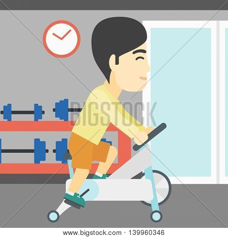 An asian young man riding stationary bicycle. Sporty man exercising on stationary training bicycle in the gym. Man training on exercise bike. Vector flat design illustration. Square layout.