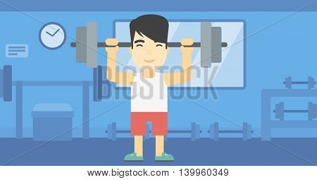 An asian young man lifting a heavy weight barbell. Strong sportsman doing exercise with barbell in the gym. Male weightlifter holding a barbell. Vector flat design illustration. Horizontal layout
