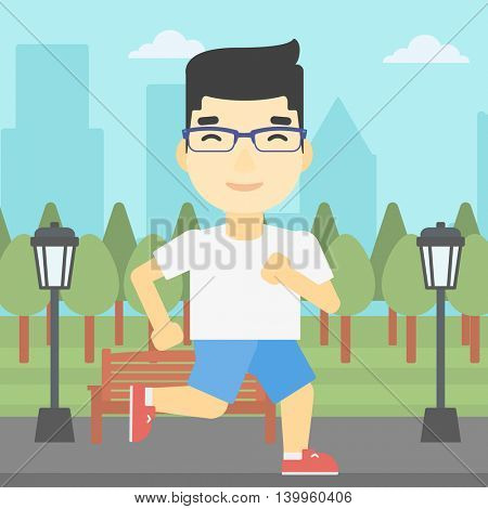 An asian young man running. Male runner jogging outdoors. Sportsman running in the park. Running man on forest road. Vector flat design illustration. Square layout.