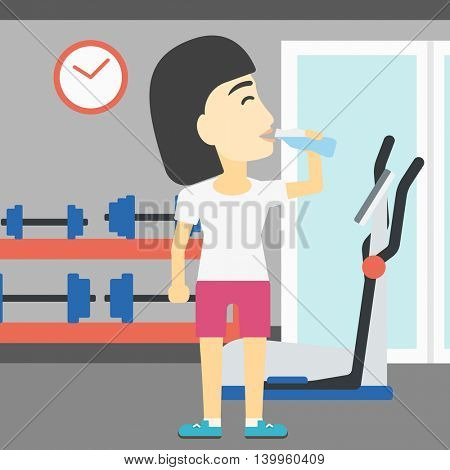 An asian young woman drinking water. Sportive woman with bottle of water in the gym. Young sports woman drinking water from the bottle. Vector flat design illustration. Square layout.