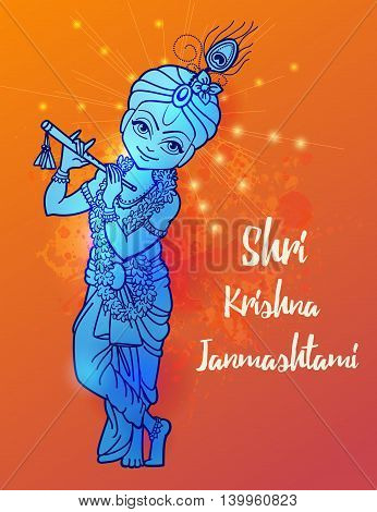 Ornament card with Lord Shri Krishna birthday. Illustration in vector art. Happy Janmashtami Day Hindu. Vedic Feast India. Use for banners, card, wallpaper, print. Cartoon little baby krishna image