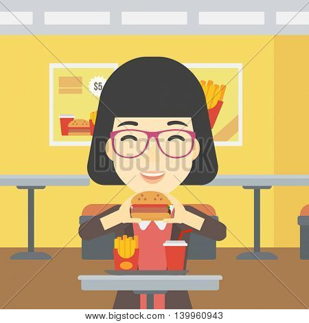 An asian young woman eating hamburger. Happy woman with eyes closed craving hamburger. Woman is about to eat delicious hamburger in the cafe. Vector flat design illustration. Square layout.