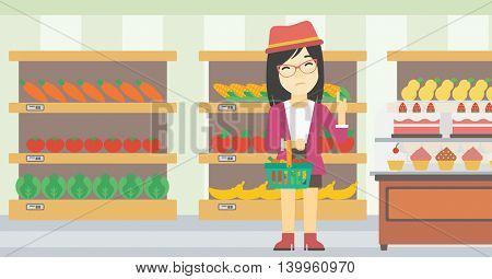 An asian young woman holding basket with healthy food and refusing junk food. Woman choosing healthy food and rejecting junk food in supermarket. Vector flat design illustration. Horizontal layout.