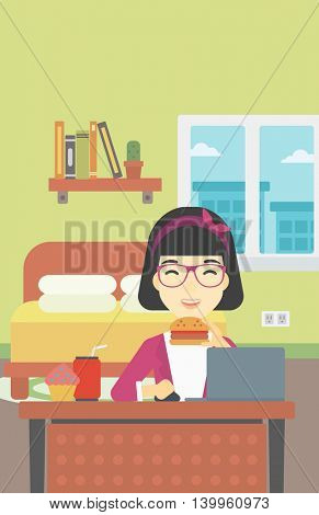 An asian young woman working on laptop while eating junk food on the background of bedroom. Vector flat design illustration. Vertical layout.