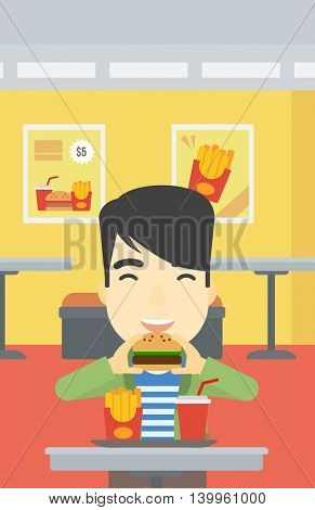 An asian young man eating hamburger. Happy man with eyes closed biting hamburger. Man is about to eat delicious hamburger in the cafe. Vector flat design illustration. Vertical layout.