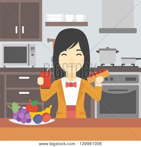 An asian woman eating fast food. Woman holding fast food in hands in the kitchen. Woman choosing between fast food and healthy food. Vector flat design illustration. Square layout.