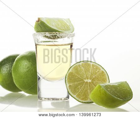 Tequila Shot On White Background