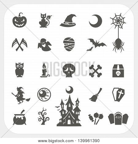 Halloween party icons set with frame background