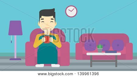 An asian young man relaxing under blanket with cup of coffee. Man drinking coffee at home. Man holding cup of hot flavored coffee. Coffee lover. Vector flat design illustration. Horizontal layout.