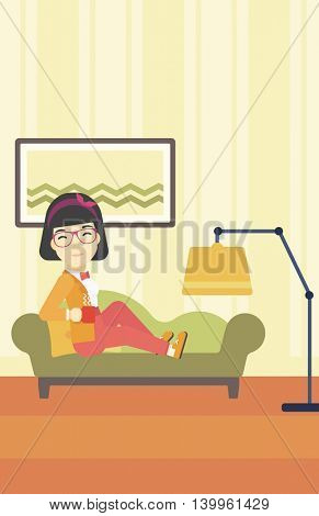 An asian young woman lying on sofa in living room and holding a cup of hot flavored tea. Vector flat design illustration. Vertical layout.