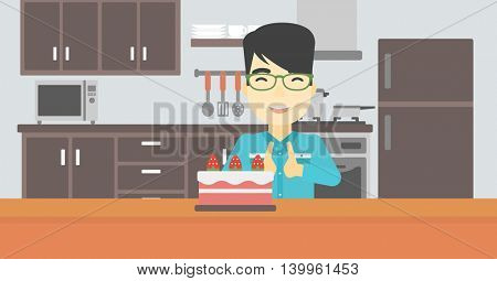 An asian happy man looking with passion at a big cake. An excited man standing in front of cake in the kitchen. Man craving delicious cake. Vector flat design illustration. Horizontal layout.