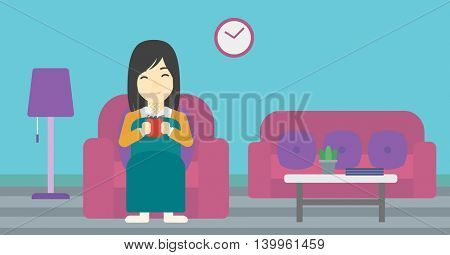 An asian young woman relaxing under blanket with cup of coffee. Woman drinking coffee at home. Woman holding a cup of hot flavored coffee or tea. Vector flat design illustration. Horizontal layout.
