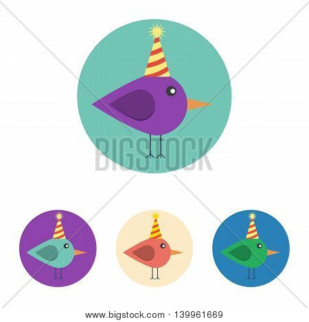 Vector set of icons with bird with birthday hat. Icons are in modern flat style in various colors without long shadows. Icons on a circular background for various use.