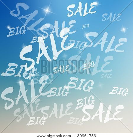 Vector big sale template. Big sale template on blurred colorful background. Template with text with various size and opacity. Sale card template for various use. Background with sparkles.