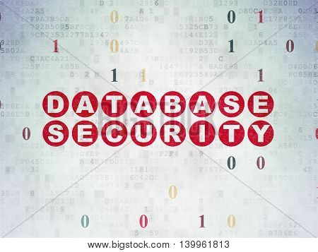 Programming concept: Painted red text Database Security on Digital Data Paper background with Binary Code