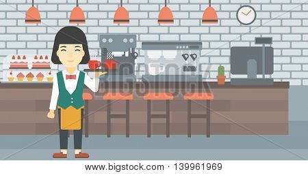 An asian young waitress holding a tray with cups of tea or coffee. Waiter with cups of coffee or tea at the bar. Vector flat design illustration. Horizontal layout.