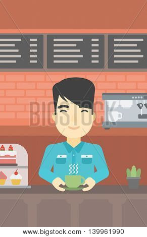 An asian young man standing at the counter with cup of coffee on the background of bakery with pastry and coffee maker. Man making coffee. Vector flat design illustration. Vertical layout.