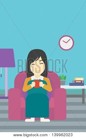 An asian young woman relaxing under blanket with cup of coffee. Woman drinking coffee at home. Woman holding a cup of hot flavored coffee or tea. Vector flat design illustration. Vertical layout.