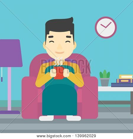 An asian young man relaxing under blanket with cup of coffee. Man drinking coffee at home. Man holding cup of hot flavored coffee. Coffee lover. Vector flat design illustration. Square layout.