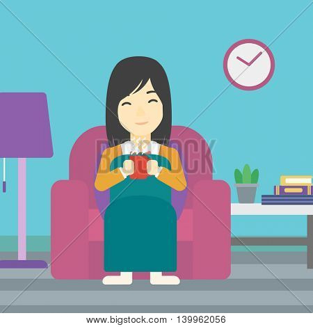 An asian young woman relaxing under blanket with cup of coffee. Woman drinking coffee at home. Woman holding a cup of hot flavored coffee or tea. Vector flat design illustration. Square layout.