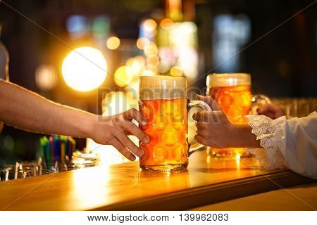 Beer mugs on the counter