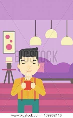 An asian man drinking hot flavored coffee. Young smiling man with cup of coffee. Man enjoying coffee at home. Vector flat design illustration. Vertical layout.