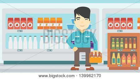 An asian man standing in alcohol store. Man holding pack of beer at supermarket. Man standing at alcohol section. Vector flat design illustration. Horizontal layout.