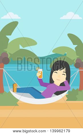 An asian young woman chilling in hammock on the beach with a cocktail in a hand vector flat design illustration. Vertical layout.
