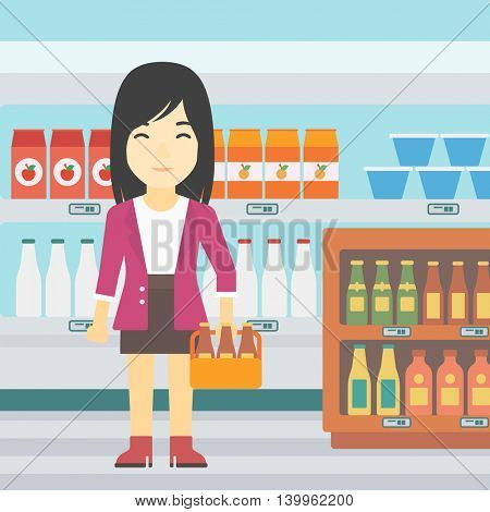 An asian young woman standing in alcohol store. Woman holding pack of beer at supermarket. Woman standing at alcohol section. Vector flat design illustration. Square layout.