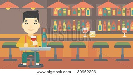 An asian man sitting at the table with glass and bottle of wine. Man drinking wine at bar. Man enjoying a drink at wine bar. Vector flat design illustration. Horizontal layout.