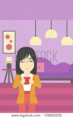 An asian woman drinking hot flavored coffee. Young smiling woman with cup of delicious coffee. Woman enjoying fresh coffee at home. Vector flat design illustration. Vertical layout.