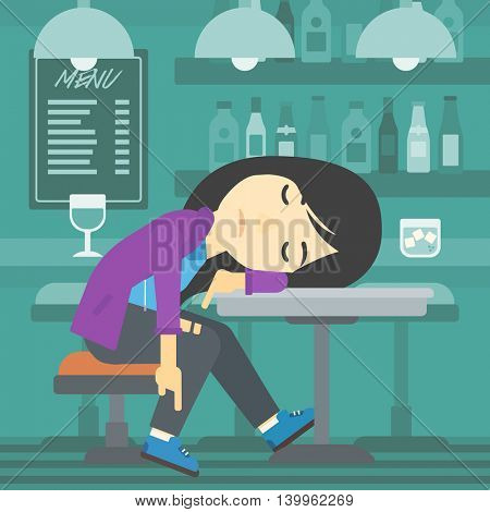 An asian drunk woman deeply sleeping near the bottle of wine and glass on table. Drunk woman sleeping in bar. Alcohol addiction concept. Vector flat design illustration. Square layout.