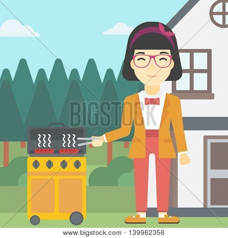An asian woman cooking meat on gas barbecue grill in the backyard. Woman preparing food on barbecue grill. Woman having outdoor barbecue. Vector flat design illustration. Square layout.