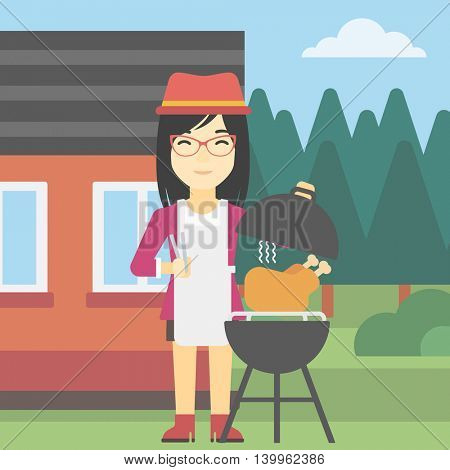 An asian woman cooking chicken on barbecue grill in the backyard. Woman having a barbecue party. Woman preparing chicken on the grill. Vector flat design illustration. Square layout.