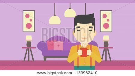 An asian man drinking hot flavored coffee. Young smiling man with cup of coffee. Man enjoying coffee at home. Vector flat design illustration. Horizontal layout.
