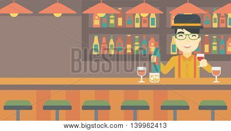 An asian bartender standing at the bar counter. Bartender with a bottle and a glass in hands. Bartender at work. Vector flat design illustration. Horizontal layout.