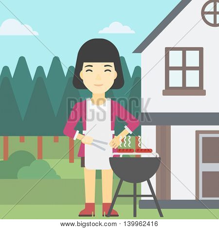 An asian woman cooking meat on the barbecue grill in the backyard. Woman preparing food on barbecue grill. Woman having outdoor barbecue. Vector flat design illustration. Square layout.