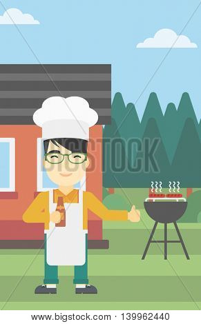 An asian man with bottle in hand cooking meat on gas barbecue grill in the backyard and giving thumb up. Man cooking meat on barbecue. Vector flat design illustration. Vertical layout.