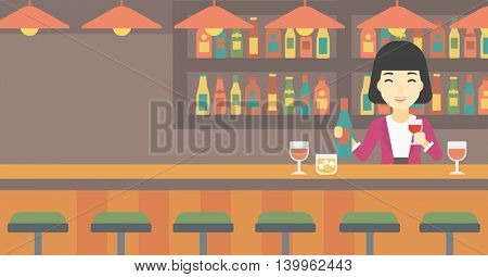 An asian female bartender standing at the bar counter. Female bartender with a bottle and a glass in hands. Female bartender at work. Vector flat design illustration. Horizontal layout.