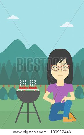 An asian young woman sitting next to barbecue grill in the park. Woman cooking meat on the barbecue grill. Woman having a barbecue party. Vector flat design illustration. Vertical layout.