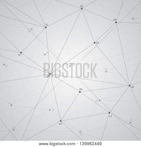 Abstract vector background, geometry, lines and points with numbers, triangles, technology wallpaper