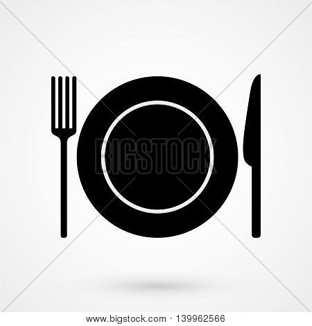 A Plate With A Knife And Fork Icon On A White Background. Simple Vector Illustration