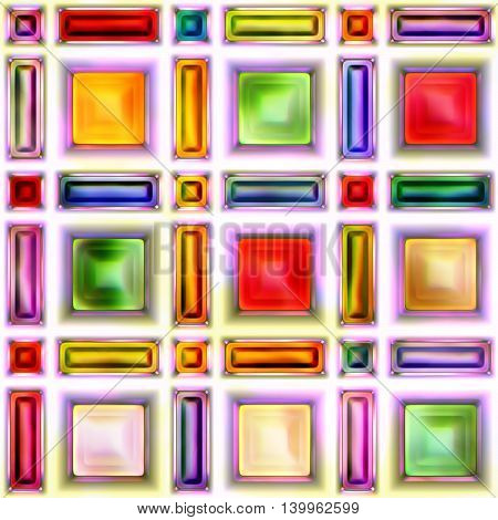 Seamless texture of abstract shiny colorful crystal 3D illustration
