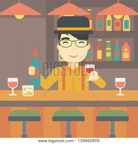 An asian bartender standing at the bar counter. Bartender with a bottle and a glass in hands. Bartender at work. Vector flat design illustration. Square layout.