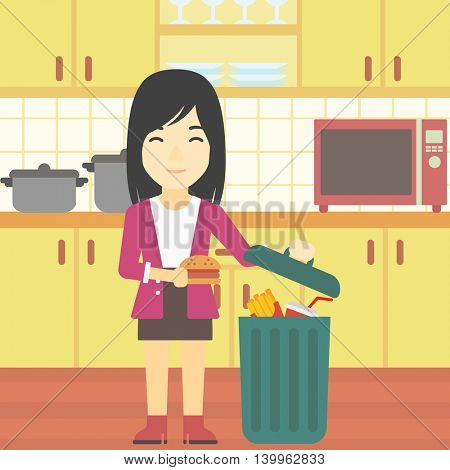 An asian woman putting junk food into trash bin. Woman refusing to eat junk food. Woman throwing junk food on the background of kitchen. Diet concept. Vector flat design illustration. Square layout.