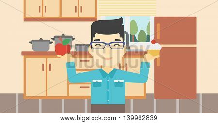 An asian man standing with apple and cupcake in hands in the kitchen. Man choosing between apple and cupcake. Dieting concept. Vector flat design illustration. Horizontal layout.
