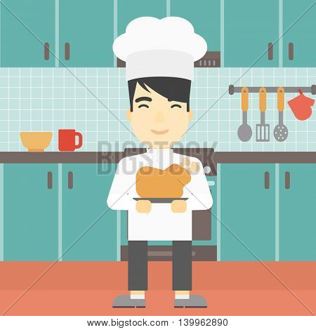 An asian chief cooker holding roasted chicken in the kitchen. Chief cooker with whole baked chicken. Chief cooker with fried chicken. Vector flat design illustration. Square layout.